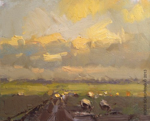 """Yellow clouds evening and sheep"" original fine art by Roos Schuring"