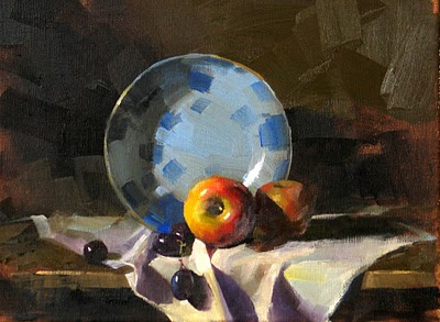 """Two Apples and Grapes --- Sold"" original fine art by Qiang Huang"