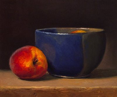 """Still Life with Peaches"" original fine art by Abbey Ryan"
