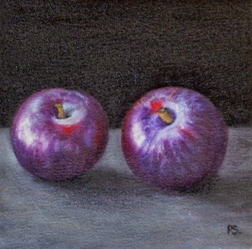 """Pair of red Plums"" original fine art by Pera Schillings"