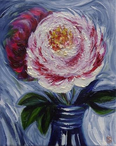 """4110 - Peony Passion"" original fine art by Sea Dean"