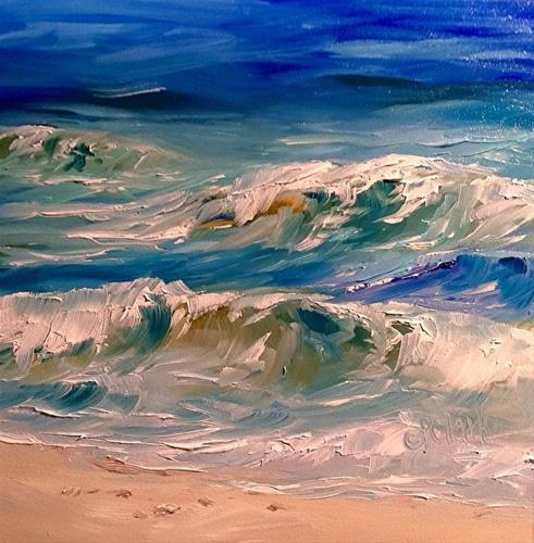 """Wave Study Two, 6 x 6, Oil, Seascape"" original fine art by Donna Pierce-Clark"