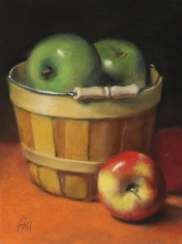 """Basket of Apples"" original fine art by Pamela Poll"