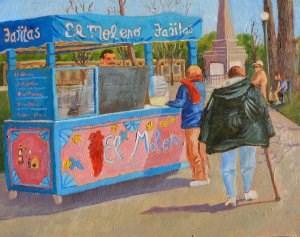 """Fajitas on the Plaza"" original fine art by Robert Frankis"