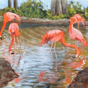 """Flamboyant Flamingos"" original fine art by Robert Frankis"