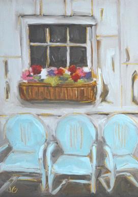 """Aqua Chairs"" original fine art by Jessica Green"