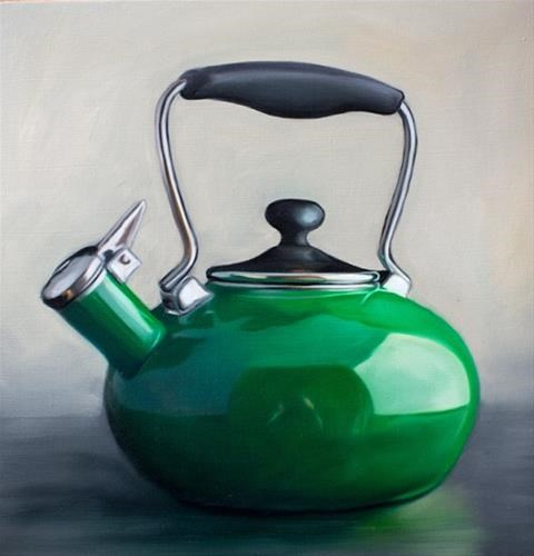 """Green Tea Kettle"" original fine art by Lauren Pretorius"