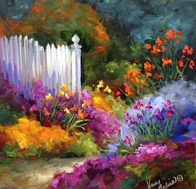 """Garden Dreamers and a Flower Stroll Through the Dallas Arboretum - Flower Paintings by Nancy Medina"" original fine art by Nancy Medina"