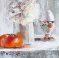 """still life with persimmon and egg in cup"" original fine art by Carrie Venezia"