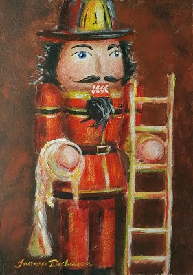 """Fireman Nutcracker"" original fine art by Tammie Dickerson"