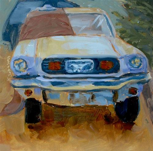 """'64 Mustang with Hoodie and Hat"" original fine art by Kathy Johnson"