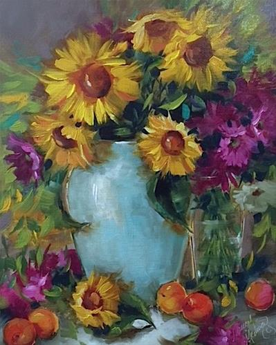 """""""Le Affair to Remember and French Apricots and Sunflowers"""" original fine art by Nancy Medina"""