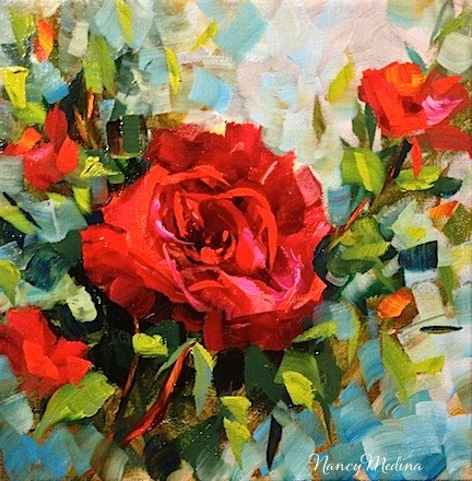 """SOLD ~ Red Red Rose and My Mother the Poet by Texas Flower Artist Nancy Medina"" original fine art by Nancy Medina"