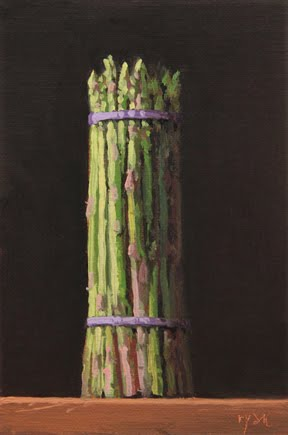 """Asparagus Bunch at Sunset"" original fine art by Abbey Ryan"