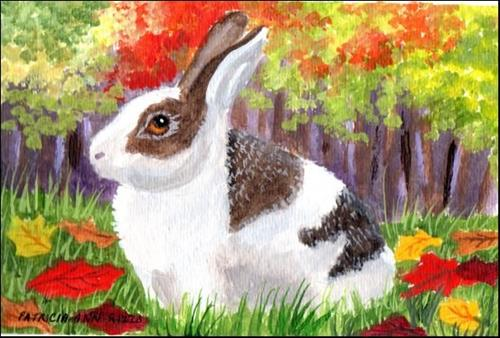 """Autumn Rabbit"" original fine art by Patricia Ann Rizzo"