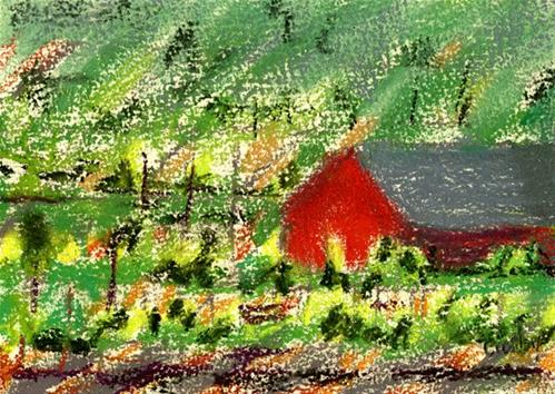 """Barn in a Vineyard"" original fine art by Donna Crosby"