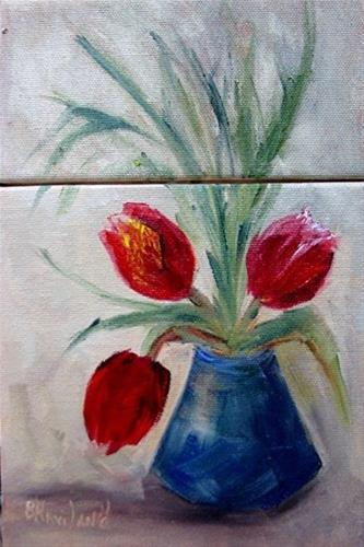 """Diptych  Tulips Red Miniature oil painting"" original fine art by Barbara Haviland"