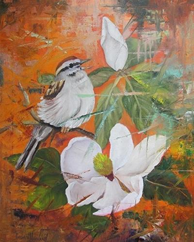 """Fractured Magnolia and Bird"" original fine art by Barbara Haviland"