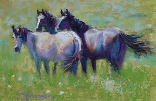"""Summer Horses"" original fine art by Trish Stevenson"
