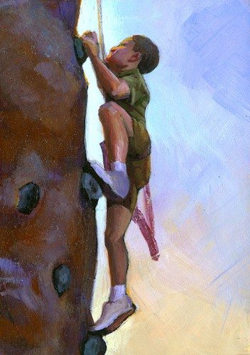 """Climber Boy"" original fine art by Lesley Spanos"
