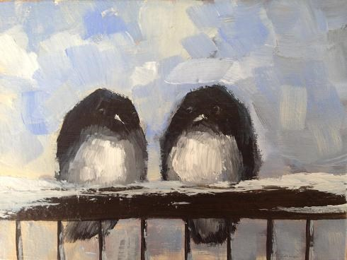 """Juncos on the Porch Railing"" original fine art by christina glaser"