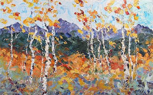 """Palette Knife Aspen , Colorado Landscape Painting Mountain Magic by  Colorado Impressionist Judith"" original fine art by Judith Babcock"