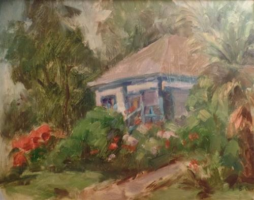 """Beach Cottage"" original fine art by Suzanne Carson"