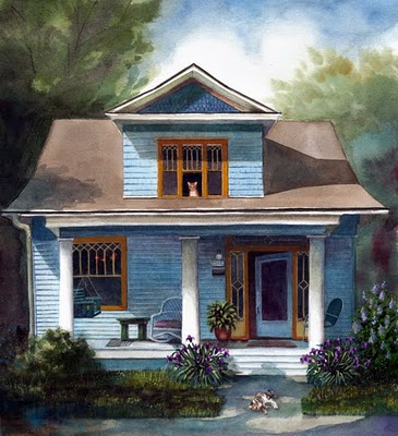 """Watercolor: The House that Max Built (& an etching by James Lorigan)"" original fine art by Belinda Del Pesco"