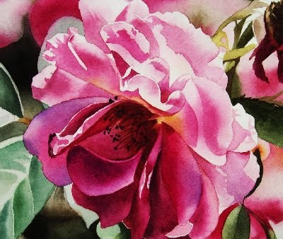 """Shy Rose II - Watercolor"" original fine art by Jacqueline Gnott, whs"