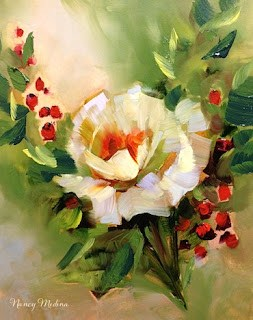"""Berry Rose in White"" original fine art by Nancy Medina"