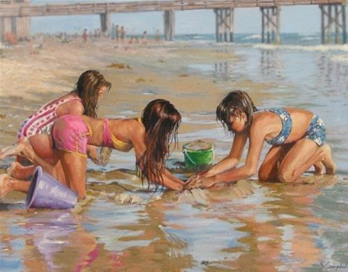 """Digging For Sand Crabs"" original fine art by Susan N Jarvis"