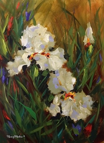 """Friends Forever White Irises and a Tour of Ireland - Nancy Medina Art"" original fine art by Nancy Medina"
