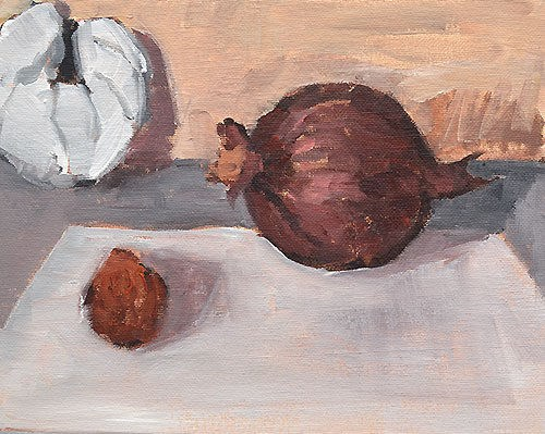 """Still Life With Onion, Croissant, and Citrus"" original fine art by Kevin Inman"