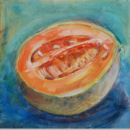 """Cantaloupe Study"" original fine art by Carol DeMumbrum"