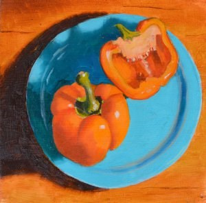 """A Pair of Peppers"" original fine art by Robert Frankis"