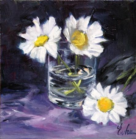 """""""Trois marguerites dans un verre"""" original fine art by Evelyne Heimburger Evhe"""