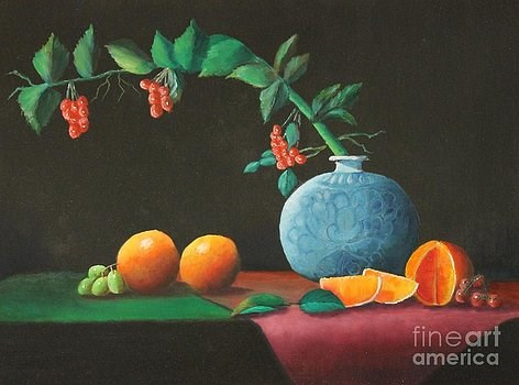 """The Asian Vase and Oranges"" original fine art by Bob Williams"