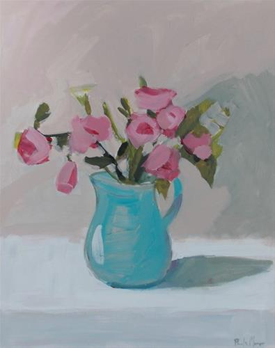 """Pink Flowers in Turquoise Jug"" original fine art by Pamela Munger"