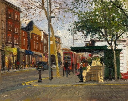 """The Flower Shop on Kings Road (22) Chelsea Marathon"" original fine art by Adebanji Alade"