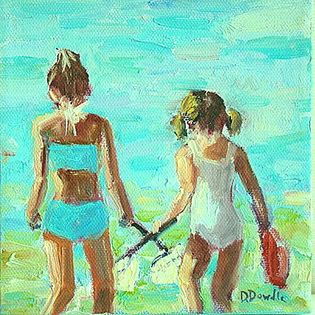 """Shell Hunting"" original fine art by Debbie Dowdle"