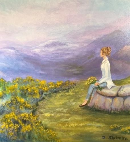 """Girl on Rocks"" original fine art by Barbara Whitmire"