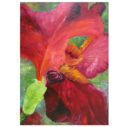 """Abstract Red Iris"" original fine art by Barbara Haviland"