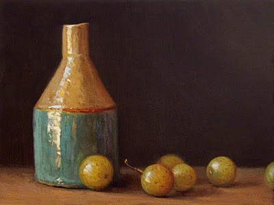 """Still Life with Bottle and Muscadine Grapes - available"" original fine art by Abbey Ryan"