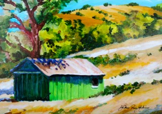 """Green Barn"" original fine art by JoAnne Perez Robinson"