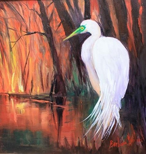 """Sunset and Egret"" original fine art by Barbara Haviland"