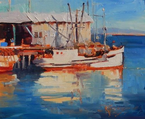 """Catch of the Day plein air, marinescape by Robin Weiss"" original fine art by Robin Weiss"