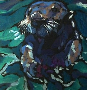 """Otterly Meal"" original fine art by Kat Corrigan"