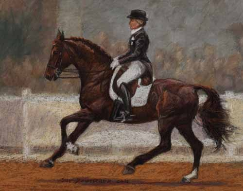 """Dressage Horse - Calecto V and Tina Konyot"" original fine art by Sue Deutscher"