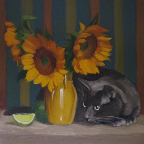 """I Spy oil painting sunflowers and cat still life"" original fine art by Diane Hoeptner"