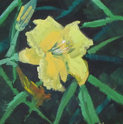 """Fast Lily   oil 4x4  316"" original fine art by Christine Holzschuh"